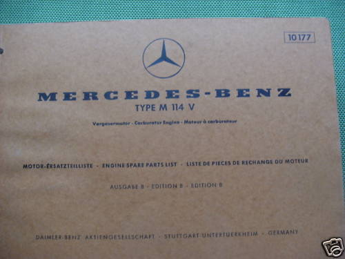 tools oldtimerbedarf mercedes benz m114v parts catalog engine 1970. Cars Review. Best American Auto & Cars Review