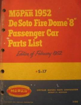 MoPar DeSoto Fire Dome 8 - Parts Catalog 1952