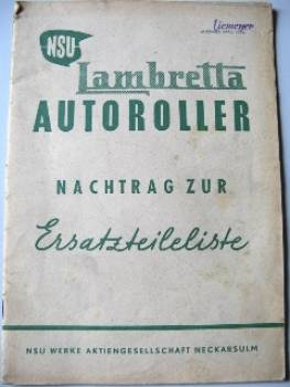 Lambretta Scooter - Parts List Supplement 1952