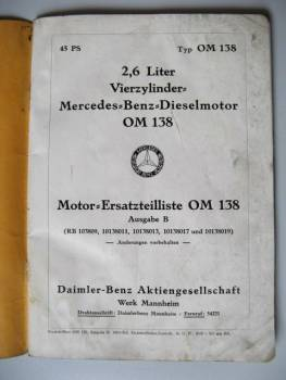 Mercedes Benz OM 138 - Parts Catalog Engine 1937