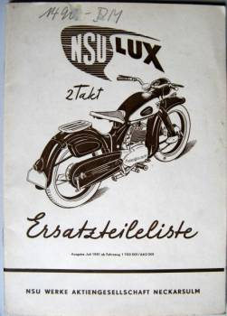 NSU Lux 2-Stroke - Parts catalog 1951