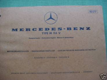 Mercedes Benz M114V - Parts Catalog Engine 1970