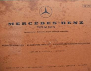 Mercedes Benz M130 V - Parts Catalog Engine 1969