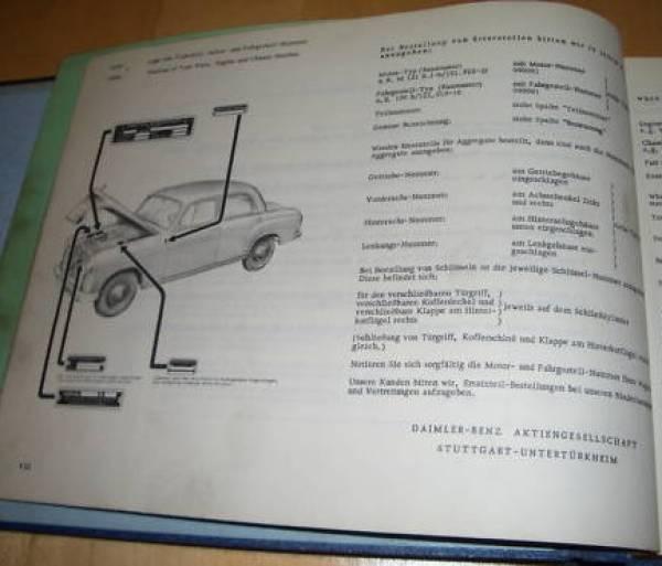 Mercedes benz sedan 190b w121 parts catalog 1959 for Www mercedes benz parts catalog