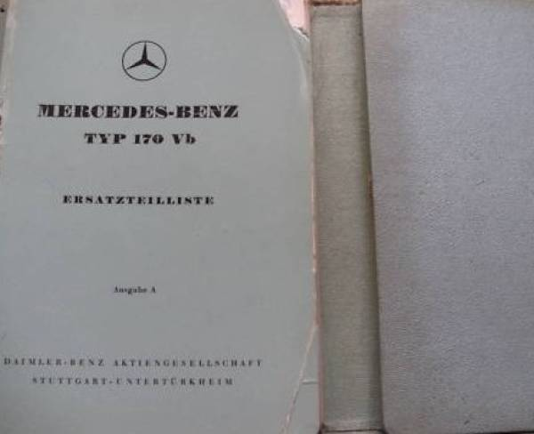 Mercedes Benz 170 Vb - Parts catalog 1952