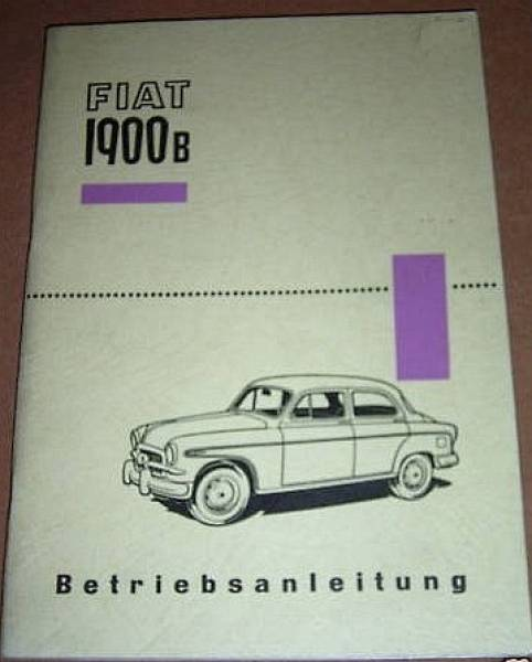 FIAT 1900B Limousine - Owner's Manual 1956