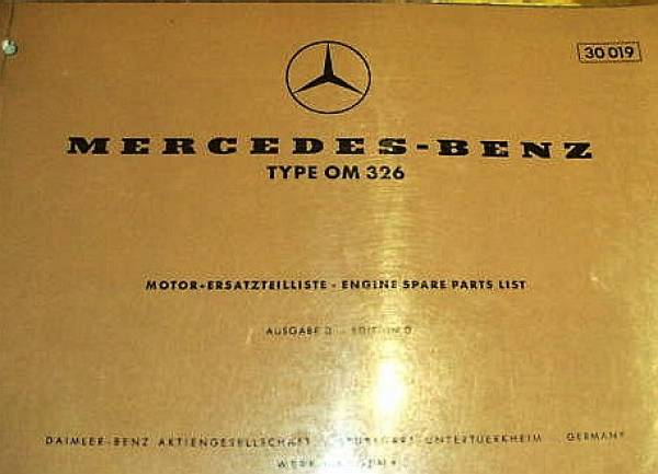 Mercedes Benz OM 326 - Parts Catalog Engine 1960